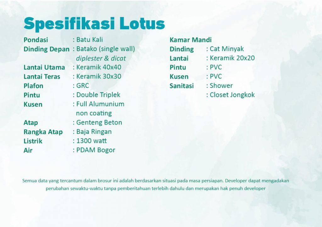 Spesifikasi Tipe Lotus CitraIndah City Jonggol